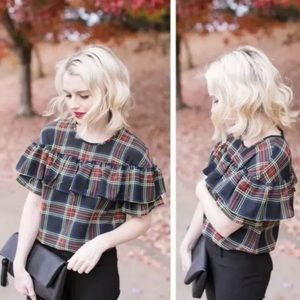 J. Crew Edie Top In Stewart Plaid Blogger Favorite